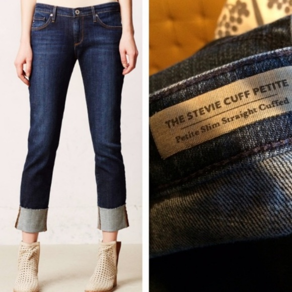 AG Jeans The Stevie Cuff Petite Slim Straight Cuffed Denim